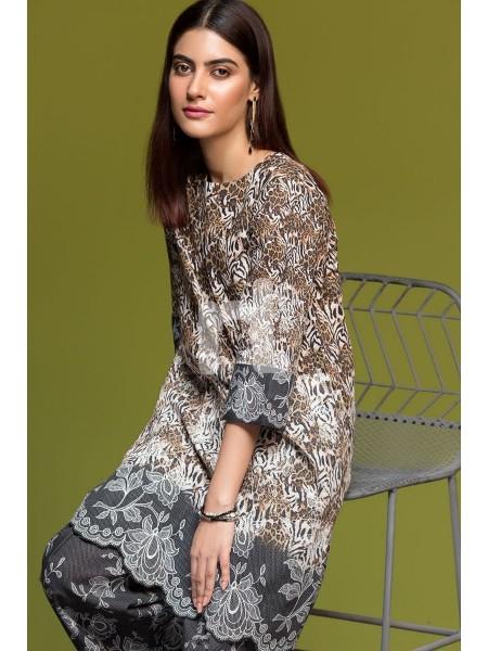 Nishat Linen Winter19 Unstitched 41901184-Khaddar Brown Digital Printed 2PC
