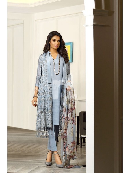 Nishat Linen Winter19 Unstitched 41908002-Chiffon Grey Printed Embroidered Luxury Unstitched - 3PC