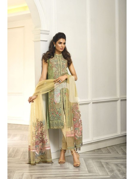 Nishat Linen Winter19 Unstitched 41908005-Poly Net Green Embroidered Luxury Unstitched 3PC