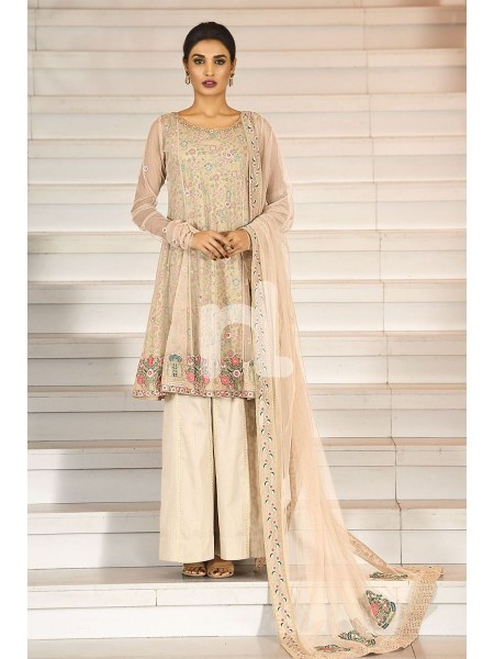 Nishat Linen Winter19 Unstitched 41908006-Poly Net Peach Embroidered Luxury Unstitched 3PC