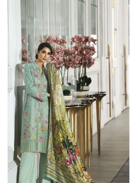 Nishat Linen Winter19 Unstitched 41908008-Silk Green Digital Printed Embroidered Luxury Unstitched - 3PC