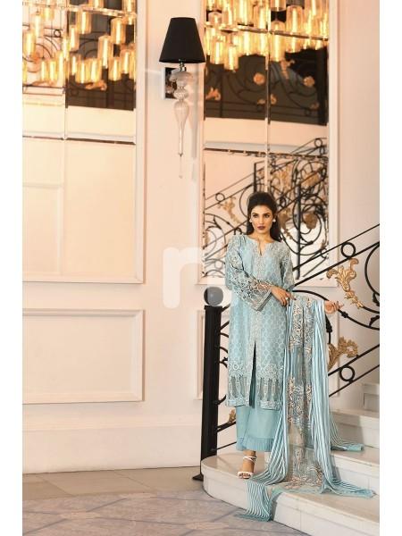 Nishat Linen Winter19 Unstitched 41908011-Stripe Organza Blue Embroidered Luxury Unstitched 3PC