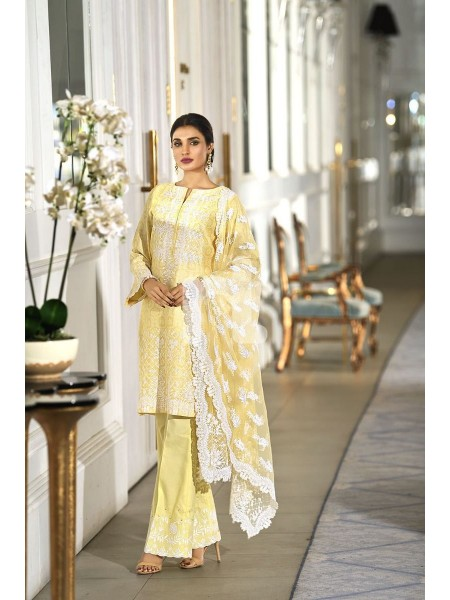 Nishat Linen Winter19 Unstitched 41908012-Poly Net Yellow Digital Printed Embroidered Luxury Unstitched - 3PC