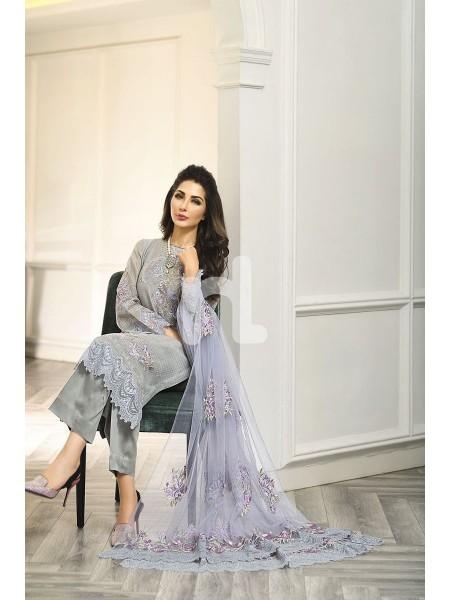 Nishat Linen Winter19 Unstitched 41908013-Cotton Net Grey Embroidered Luxury Unstitched 3PC