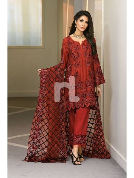 Nishat Linen Winter19 Unstitched 41908019-Jacquard Red Embroidered Luxury Unstitched 3PC