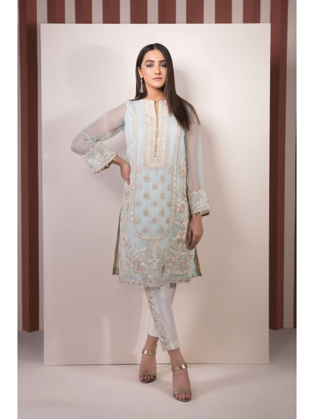SAPPHIRE Ready to Wear Sparkling Dew Embroidered Organza Shirt 00LPELUX1802-XSM-BLU