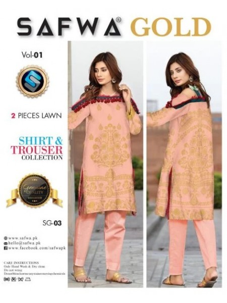 SG-03 -SAFWA COTTON GOLD COLLECTION-2 PIECE PRINTED DRESS