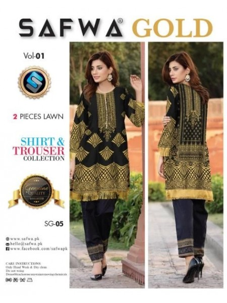 SG-05 -SAFWA COTTON GOLD COLLECTION-2 PIECE PRINTED DRESS