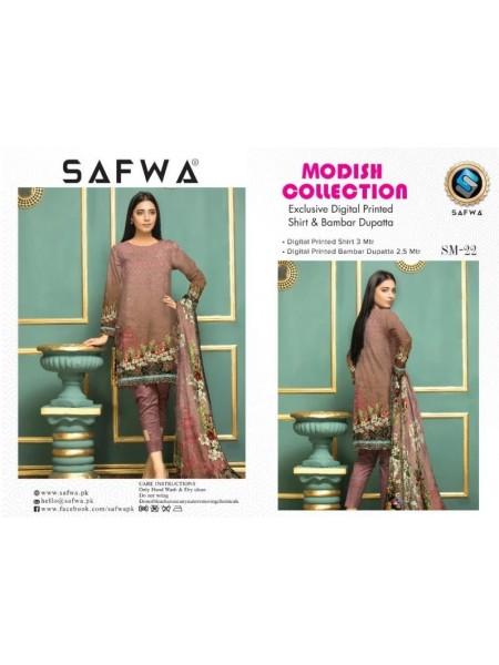 SM 22-SAFWA LAWN-MODISH COLLECTION 2019- PRINTED -2 PIECE DRESS