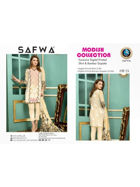 SM 24-SAFWA LAWN-MODISH COLLECTION 2019- PRINTED -2 PIECE DRESS