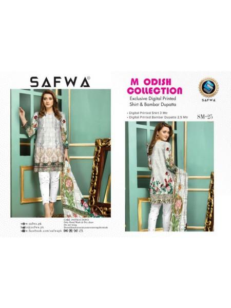 SM 25-SAFWA LAWN-MODISH COLLECTION 2019- PRINTED -2 PIECE DRESS
