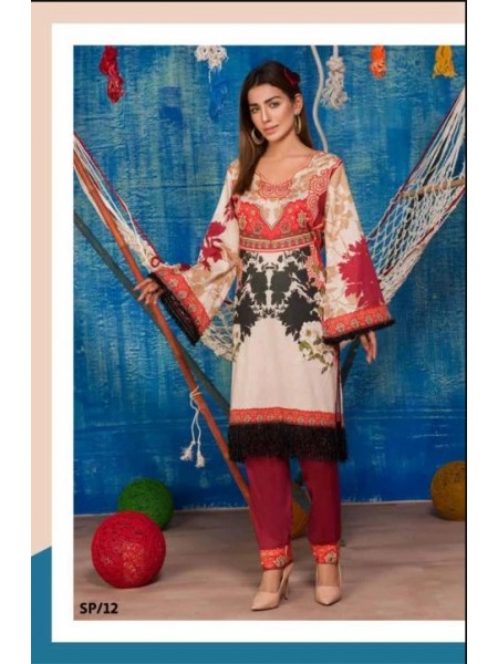 SP-12-SAFWA LAWN-SERENE PLUS COLLECTION- PRINTED -2 PIECE DRESS