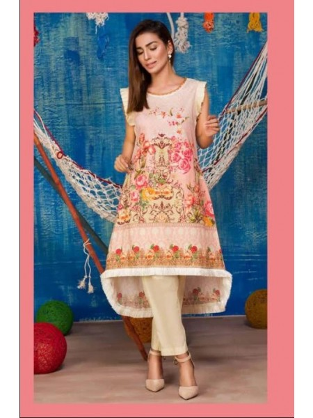 SP-13-SAFWA LAWN-SERENE PLUS COLLECTION- PRINTED -2 PIECE DRESS
