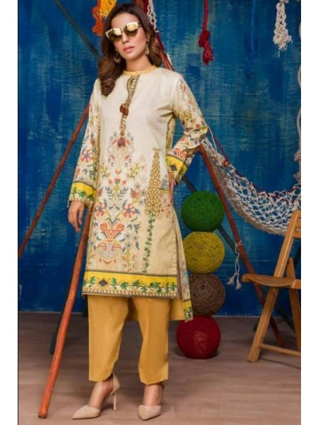 SP-14-SAFWA LAWN-SERENE PLUS COLLECTION- PRINTED -2 PIECE DRESS