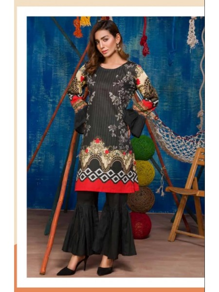 SP-16-SAFWA LAWN-SERENE PLUS COLLECTION- PRINTED -2 PIECE DRESS