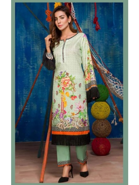 SP-17-SAFWA LAWN-SERENE PLUS COLLECTION- PRINTED -2 PIECE DRESS