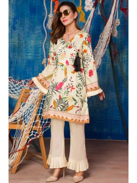 SP-18-SAFWA LAWN-SERENE PLUS COLLECTION- PRINTED -2 PIECE DRESS