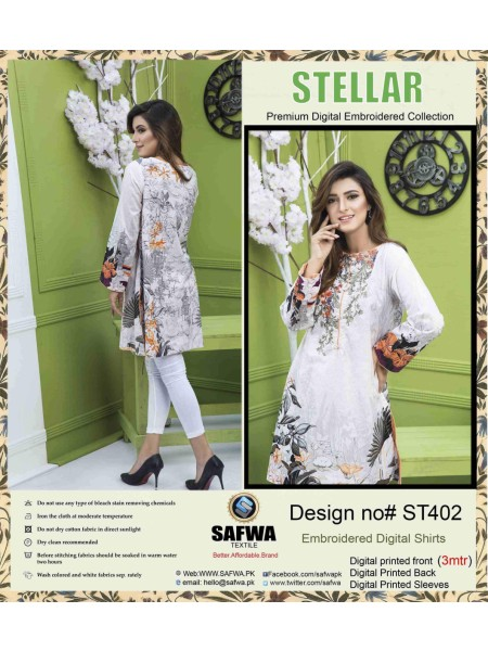 ST-402 - SAFWA PREMIUM LAWN - STELLER COLLECTION - EMBROIDERY DIGITAL - SHIRTS