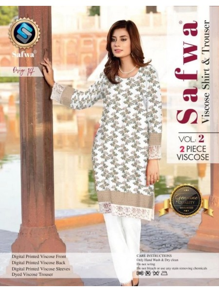 VC-14 -SAFWA VISCOSE 2 PIECE DRESS COLLECTION-DIGITAL PRINTED 2019