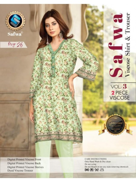 VC-26 -SAFWA VISCOSE 2 PIECE DRESS COLLECTION-DIGITAL PRINTED 2019