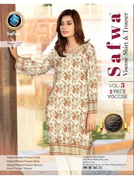 VC-27 -SAFWA VISCOSE 2 PIECE DRESS COLLECTION-DIGITAL PRINTED 2019