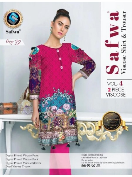 VC-32 -SAFWA VISCOSE 2 PIECE DRESS COLLECTION VOL 4 2019 -DIGITAL PRINTED 2019