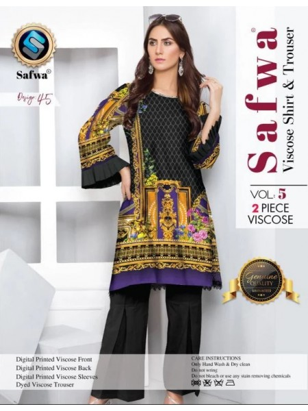 VC-45 -SAFWA VISCOSE 2 PIECE DRESS COLLECTION VOL 5 2019 -DIGITAL PRINTED 2019