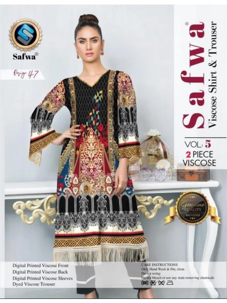 VC-47 -SAFWA VISCOSE 2 PIECE DRESS COLLECTION VOL 5 2019 -DIGITAL PRINTED 2019