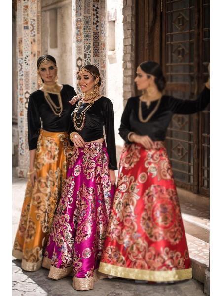 Zahra Ahmad Luxury Pret Maharaani-Hot pink