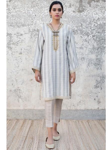 Zeen Woman 1 PC Stitched Suit - Checkered Cotton Staple WZK19417-Grey-Beige