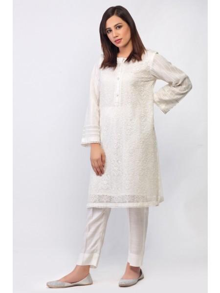 Zeen Woman 1 PC Stitched Suit - Net WZK19406-White