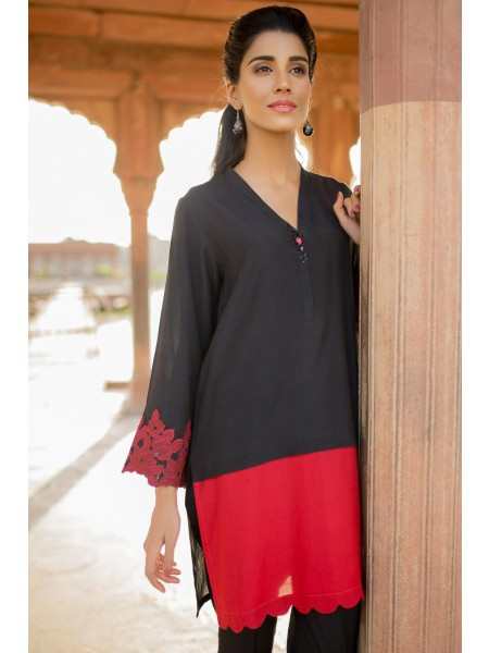 Zeen Woman 1 PC Stitched Suit - Raw Silk WZK19219-Black-Chili-Red