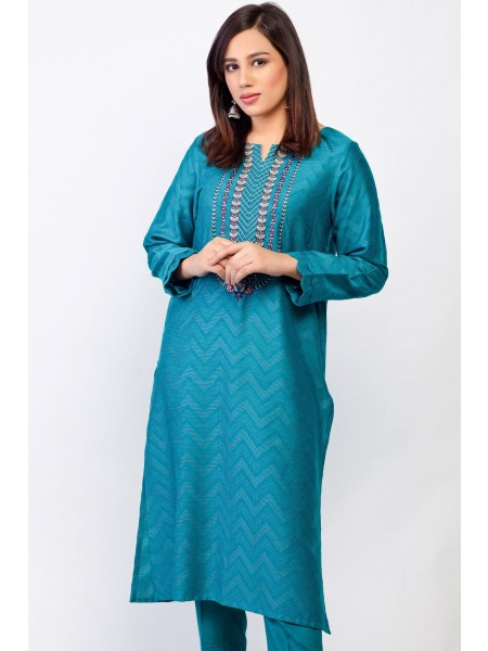 Zeen Woman 1 PC Stitched Suit - Self jacquard WZK19404-Teal
