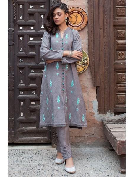 Zeen Woman 1 PC Stitched Suit - Self jacquard WZK19405-Grey