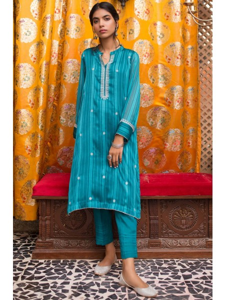 Zeen Woman 1 PC Stitched Suit - Striped Georgette WZK19410-Teal