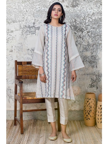 Zeen Woman 1 PC Stitched Suit - Striped Khaadi Net WZK19415-Grey-White