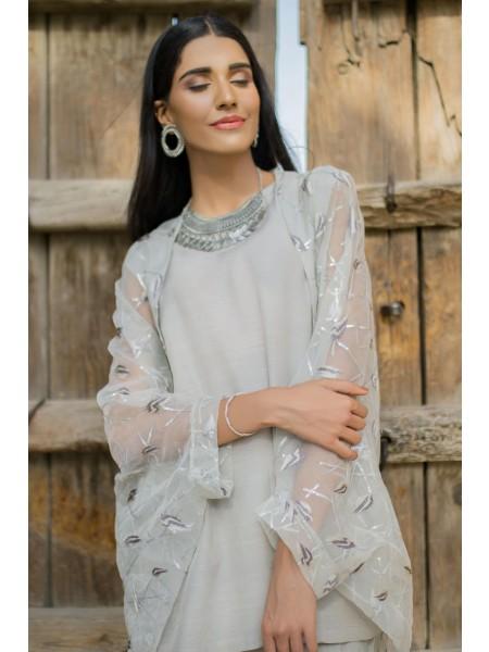 Zeen Woman 2 PC Stitched Suit - Organza WZK29209-Ash-Grey