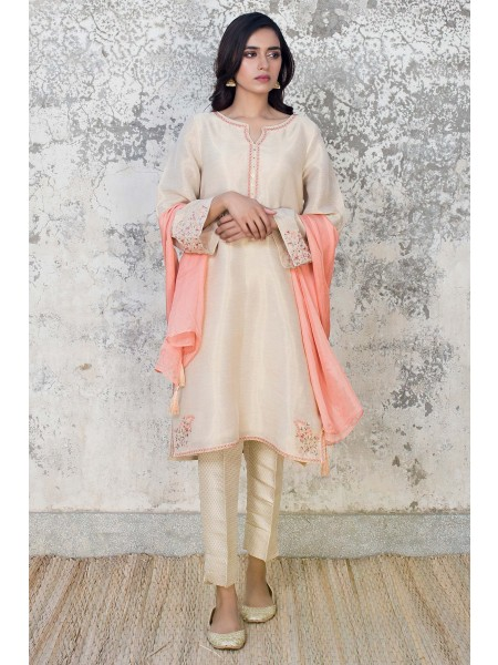 Zeen Woman 2 PC Stitched Suit - Zari Dhari WZK29405-Off-White
