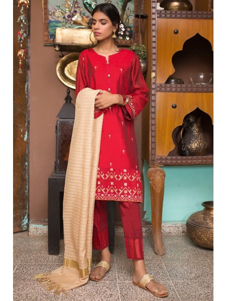 Zeen Woman 3 PC Stitched Suit - Cotton Net WZK39401-Maroon