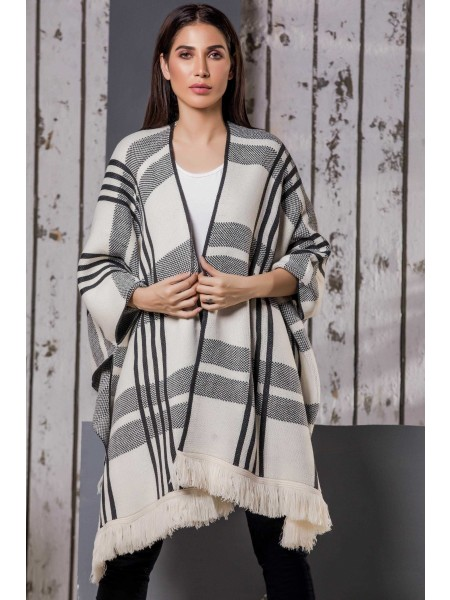 Zeen Woman Winter19 Sweater Checks And Stripes WSW19-18-Dove-Grey