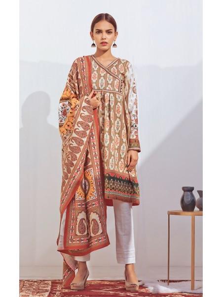 Zellbury Winter Collection19 Shirt Dupatta - Cashmere Brown - Dobby Suit ZWUIM220020