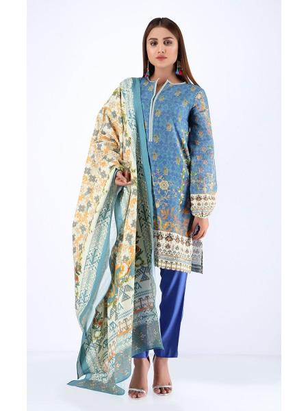 Zellbury Winter Collection19 Shirt Dupatta - Danube Blue - Khaddar Suit ZWUWC219600