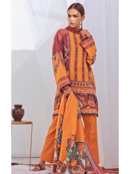 Zellbury Winter Collection19 Shirt Dupatta - Koromiko Orange - Dobby Suit ZWUIM220013