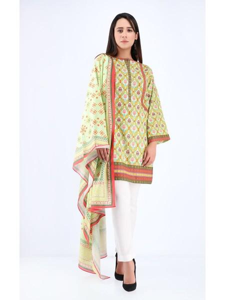 Zellbury Winter Collection19 Shirt Dupatta - Pale Leaf Green - Khaddar Suit ZWUWC219574