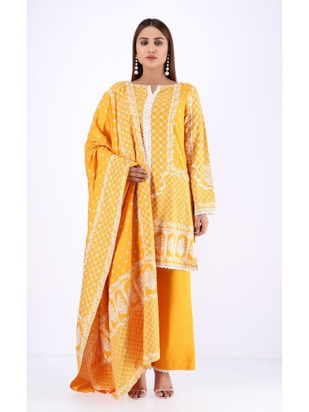 Zellbury Winter Collection19 Shirt Dupatta - Supernova Yellow - Dobby Viscose Suit ZWUWC219578