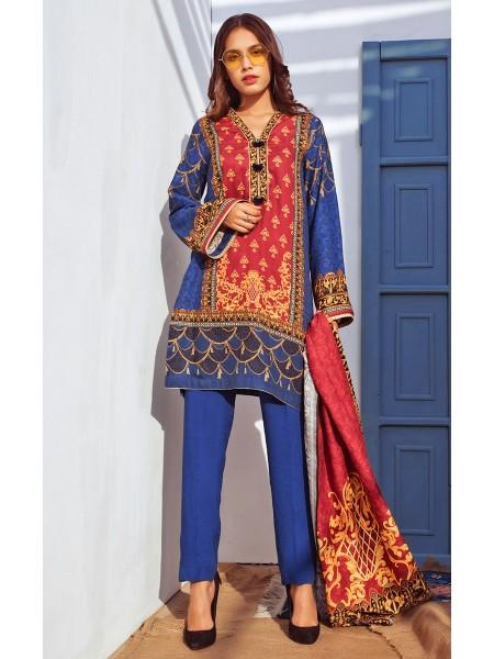 Zellbury Winter Collection19 Shirt Dupatta - Tropaz Blue - Dobby Suit ZWUIM220004