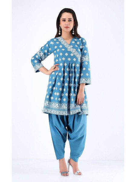 Zellbury Winter Collection19 Shirt Shalwar - Picton Blue - Cambric Suit ZWUWC219590