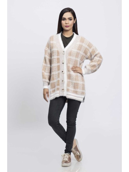 Bonanza Luxury Sweater Beige-Full Sleeves-Cardigan 19S-044-61-BEIGE