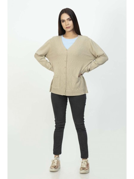 Bonanza Luxury Sweater Beige-Full Sleeves-Cardigan 19S-112-61-BEIGE