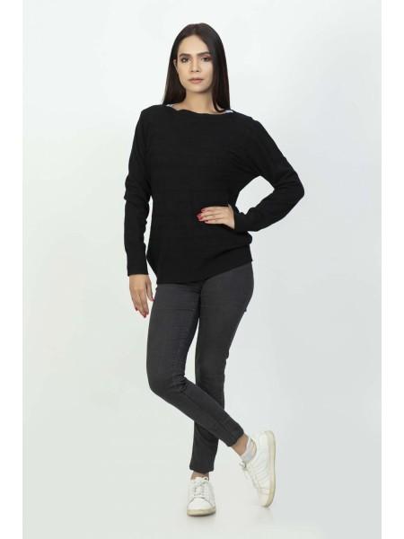 Bonanza Luxury Sweater Black-Full Sleeves-Pull Over 19S-106-61-BLACK